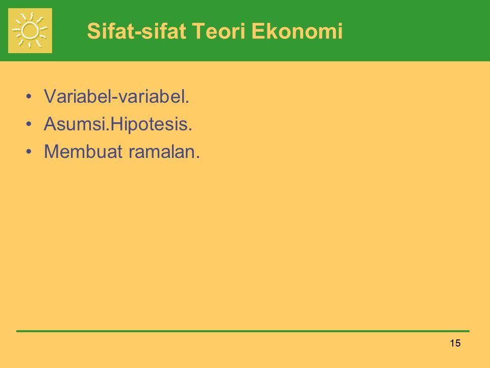 15 Sifat-sifat Teori Ekonomi Variabel-variabel. Asumsi.Hipotesis. Membuat ramalan.