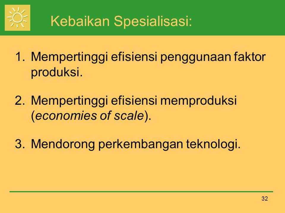 32 Kebaikan Spesialisasi: 1.Mempertinggi efisiensi penggunaan faktor produksi.