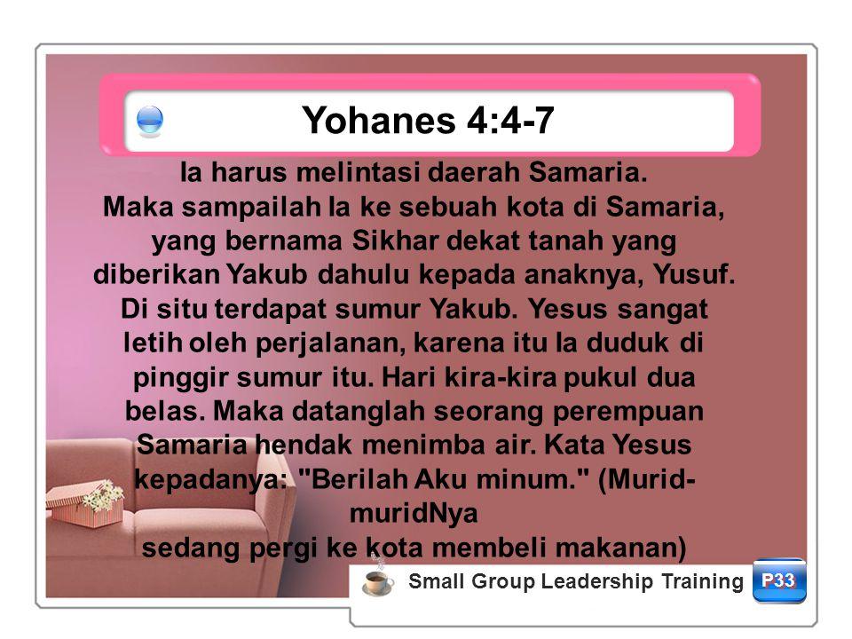 Yohanes 4:4-7 P33 Small Group Leadership Training Ia harus melintasi daerah Samaria.