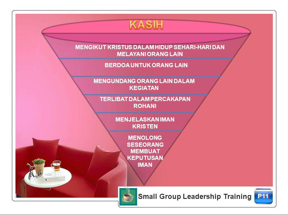 Small Group Leadership Training P11 MENJELASKAN IMAN KRISTEN BERDOA UNTUK ORANG LAIN MENGUNDANG ORANG LAIN DALAM KEGIATAN MENGIKUT KRISTUS DALAM HIDUP SEHARI-HARI DAN MELAYANI ORANG LAIN TERLIBAT DALAM PERCAKAPAN ROHANI MENOLONG SESEORANG MEMBUAT KEPUTUSAN IMAN