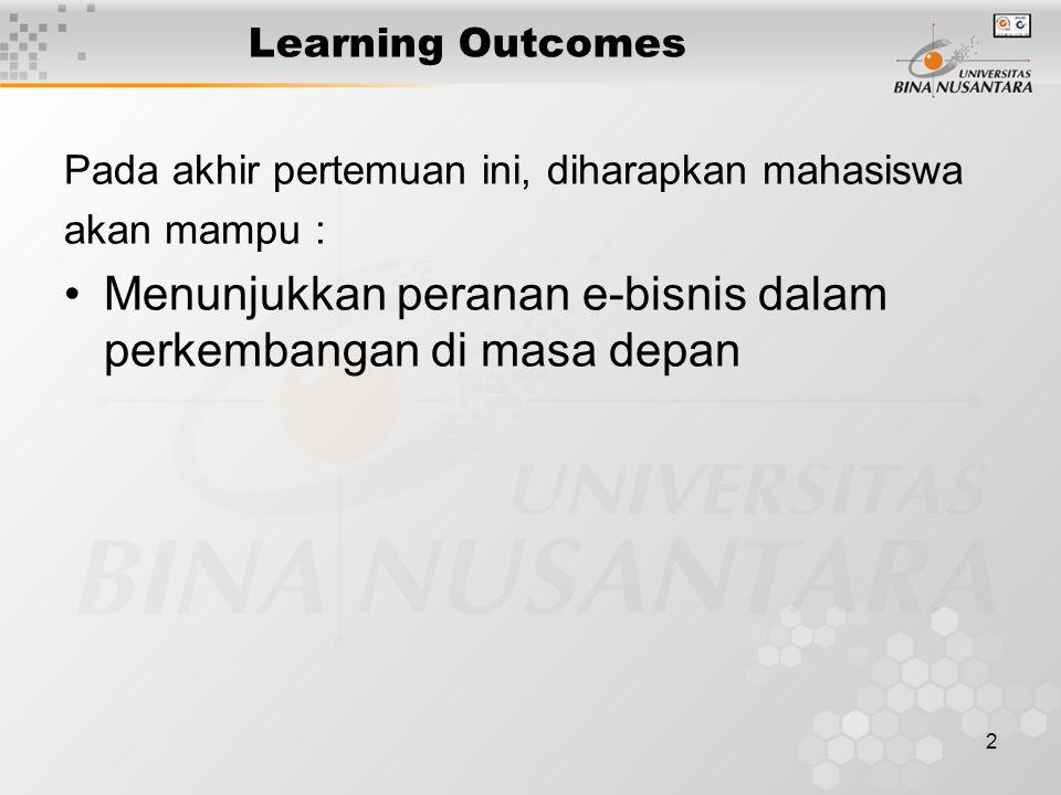 2 Learning Outcomes Pada akhir pertemuan ini, diharapkan mahasiswa akan mampu : Menunjukkan peranan e-bisnis dalam perkembangan di masa depan