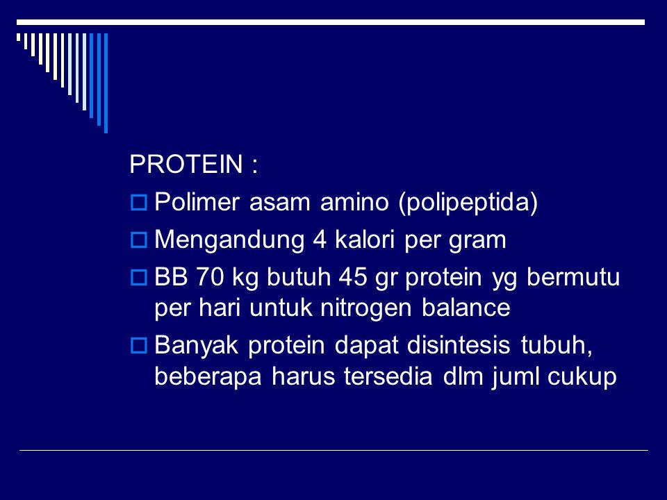 PROTEIN :  Polimer asam amino (polipeptida)  Mengandung 4 kalori per gram  BB 70 kg butuh 45 gr protein yg bermutu per hari untuk nitrogen balance
