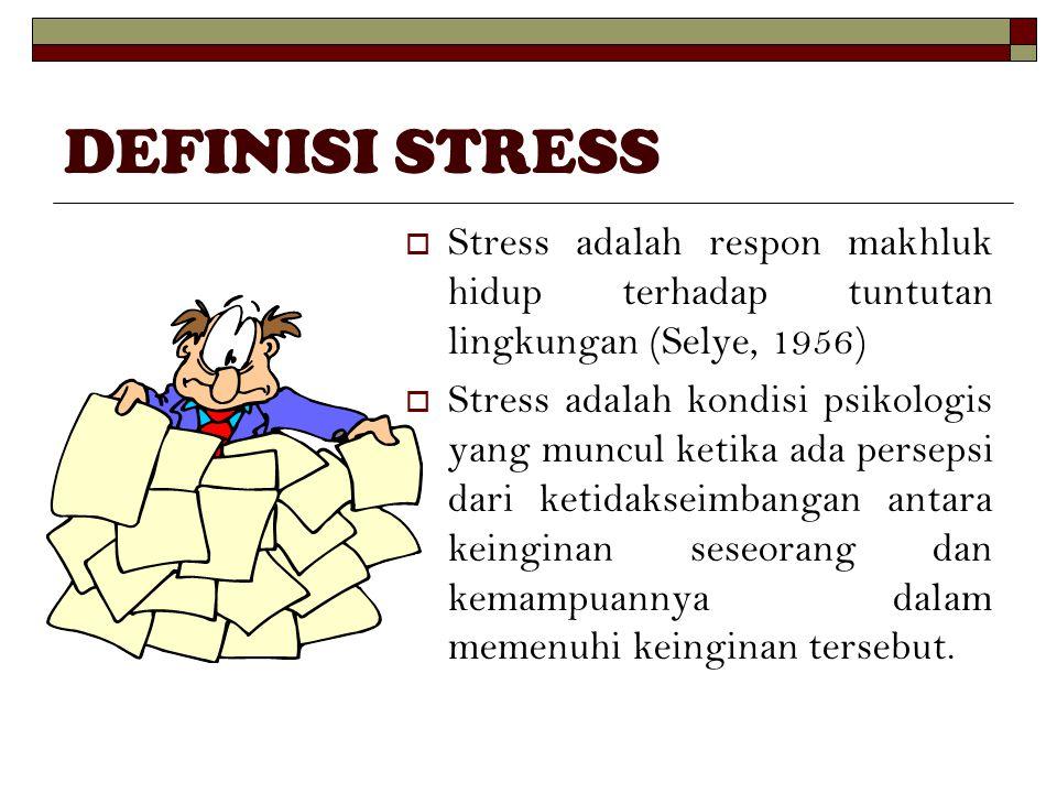 DEFINISI STRESS  Stress adalah respon makhluk hidup terhadap tuntutan lingkungan (Selye, 1956)  Stress adalah kondisi psikologis yang muncul ketika