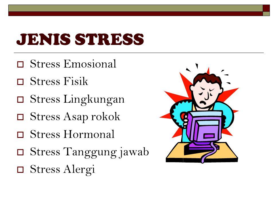 JENIS STRESS  Stress Emosional  Stress Fisik  Stress Lingkungan  Stress Asap rokok  Stress Hormonal  Stress Tanggung jawab  Stress Alergi