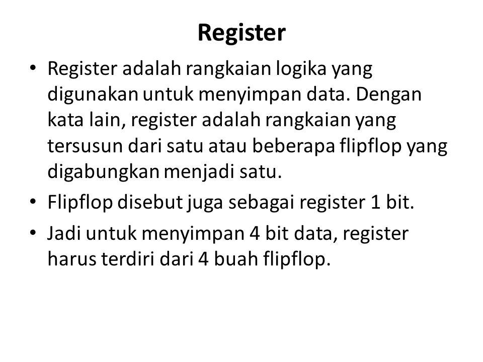 Register Register adalah rangkaian logika yang digunakan untuk menyimpan data. Dengan kata lain, register adalah rangkaian yang tersusun dari satu ata