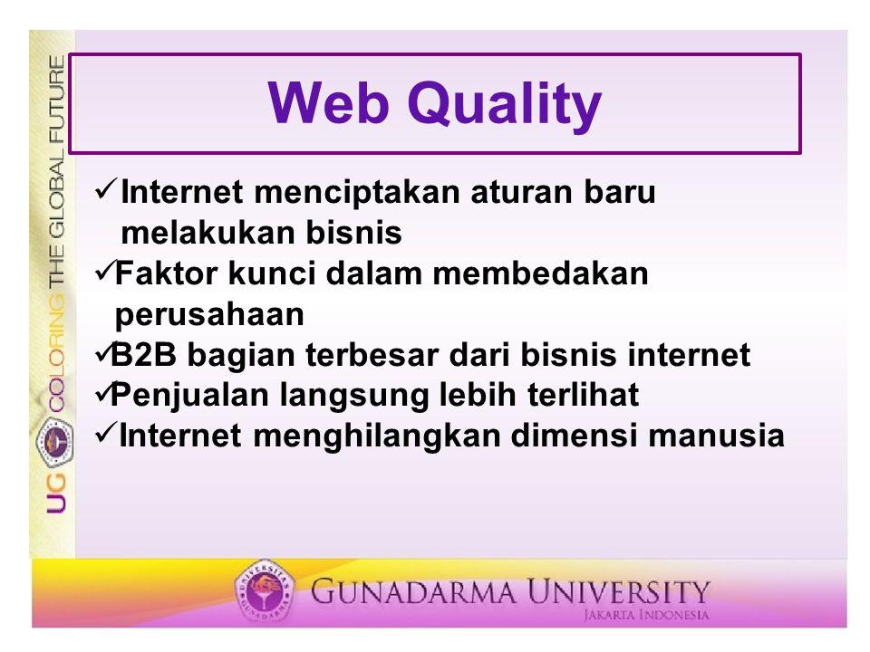 Web Quality Internet menciptakan aturan baru melakukan bisnis Faktor kunci dalam membedakan perusahaan B2B bagian terbesar dari bisnis internet Penjua