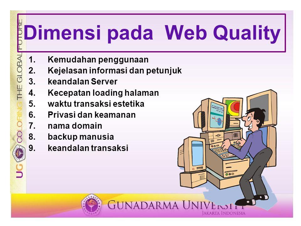 Dimensi pada Web Quality 1.Kemudahan penggunaan 2.Kejelasan informasi dan petunjuk 3.keandalan Server 4.Kecepatan loading halaman 5.waktu transaksi es