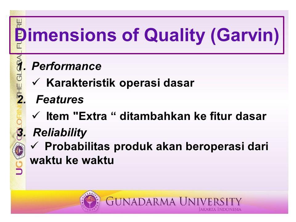 Dimensions of Quality (Garvin) 4.Conformance Memenuhi standar yang ditetapkan sebelumnya 5.Durability Rentang hidup sebelum penggantian 6.Serviceability Kemudahan mendapatkan perbaikan, kecepatan & kompetensi perbaikan