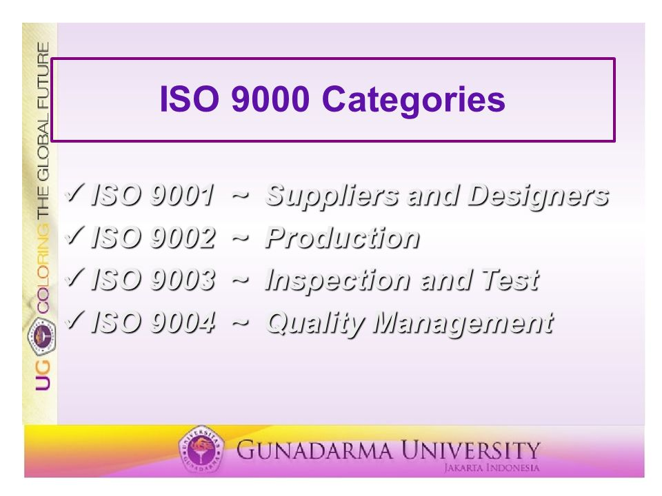 ISO 9000 Categories ISO 9001 ~ Suppliers and Designers ISO 9001 ~ Suppliers and Designers ISO 9002 ~ Production ISO 9002 ~ Production ISO 9003 ~ Inspe