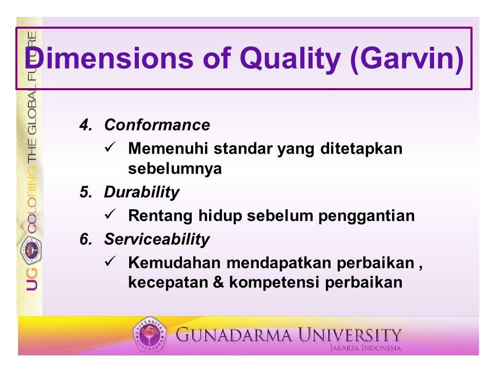 Dimensions of Quality (Garvin) 4.Conformance Memenuhi standar yang ditetapkan sebelumnya 5.Durability Rentang hidup sebelum penggantian 6.Serviceabili