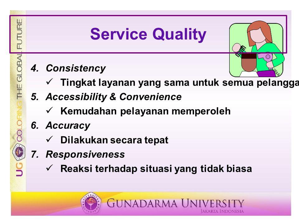 4.Consistency Tingkat layanan yang sama untuk semua pelanggan 5.Accessibility & Convenience Kemudahan pelayanan memperoleh 6.Accuracy Dilakukan secara