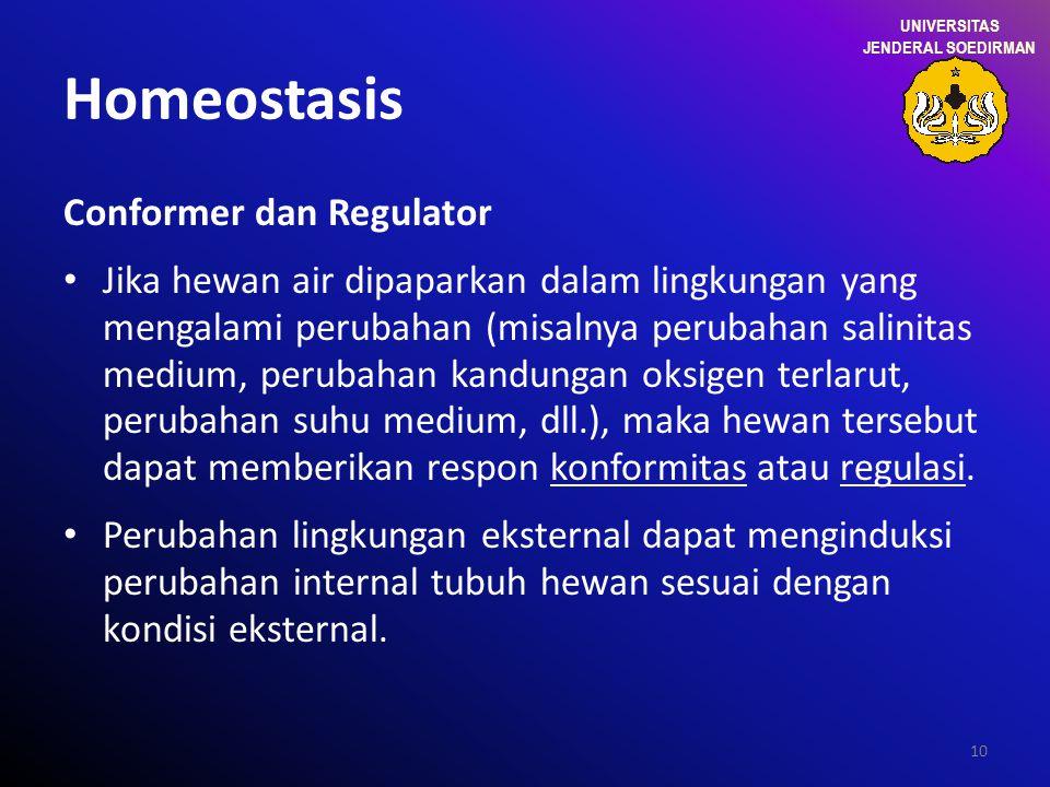 10 Homeostasis Conformer dan Regulator Jika hewan air dipaparkan dalam lingkungan yang mengalami perubahan (misalnya perubahan salinitas medium, perub