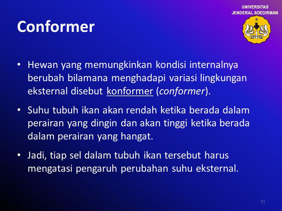 11 Conformer Hewan yang memungkinkan kondisi internalnya berubah bilamana menghadapi variasi lingkungan eksternal disebut konformer (conformer). Suhu