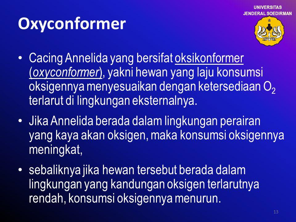 13 Oxyconformer Cacing Annelida yang bersifat oksikonformer ( oxyconformer ), yakni hewan yang laju konsumsi oksigennya menyesuaikan dengan ketersedia