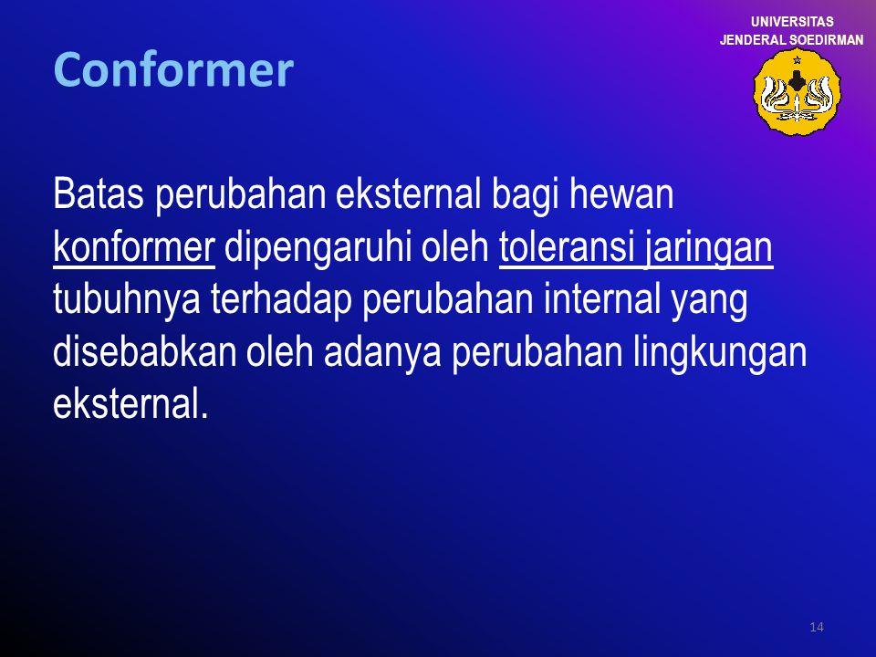 14 Conformer Batas perubahan eksternal bagi hewan konformer dipengaruhi oleh toleransi jaringan tubuhnya terhadap perubahan internal yang disebabkan o