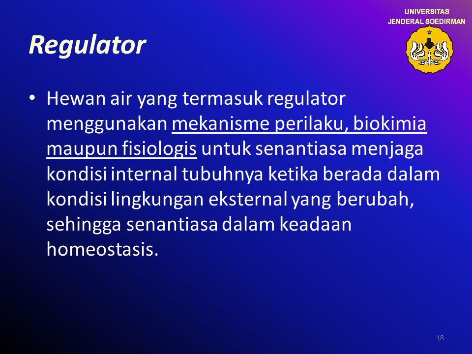 18 Regulator Hewan air yang termasuk regulator menggunakan mekanisme perilaku, biokimia maupun fisiologis untuk senantiasa menjaga kondisi internal tu