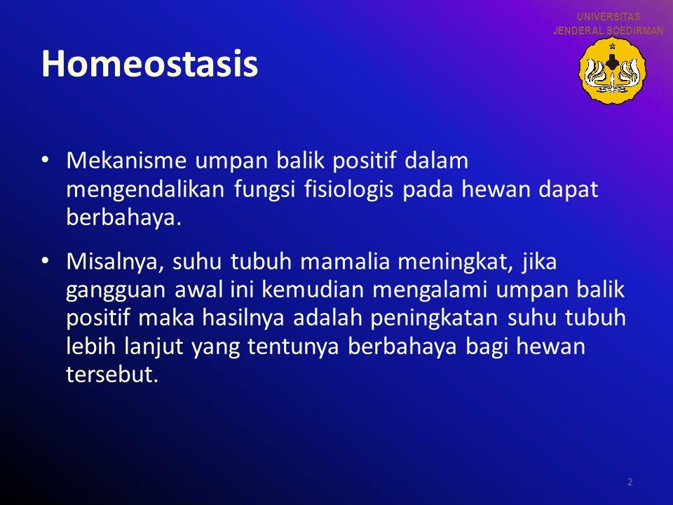 2 Homeostasis Mekanisme umpan balik positif dalam mengendalikan fungsi fisiologis pada hewan dapat berbahaya. Misalnya, suhu tubuh mamalia meningkat,