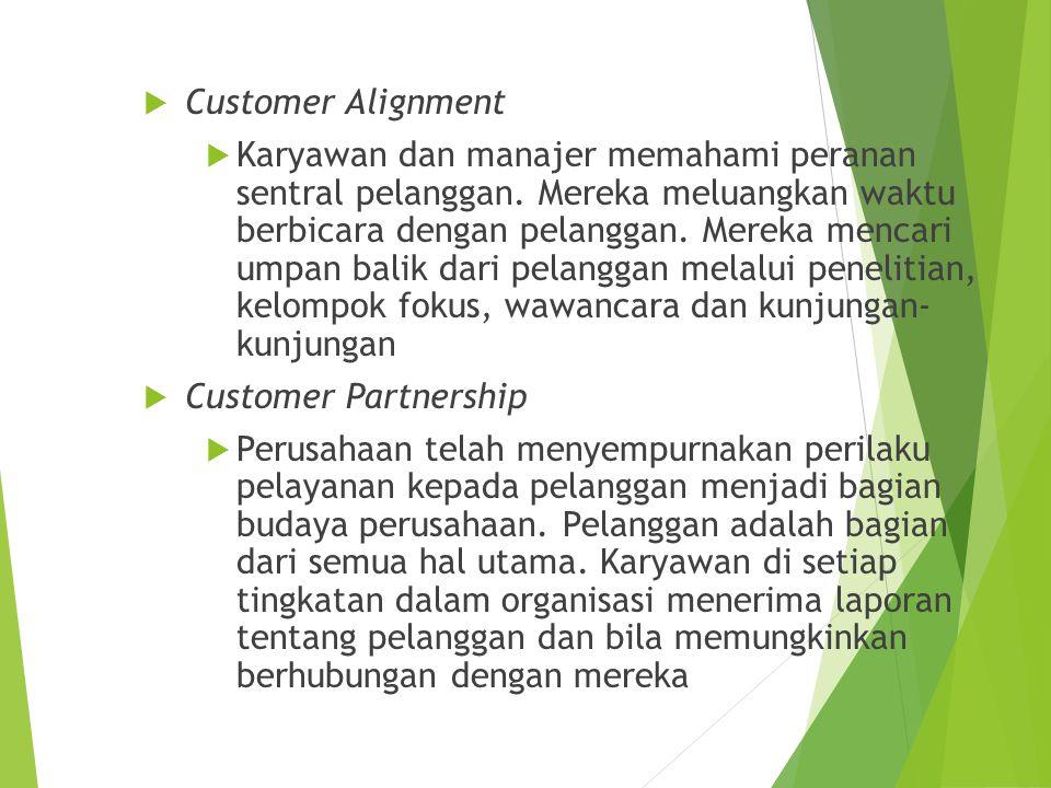  Customer Alignment  Karyawan dan manajer memahami peranan sentral pelanggan. Mereka meluangkan waktu berbicara dengan pelanggan. Mereka mencari ump