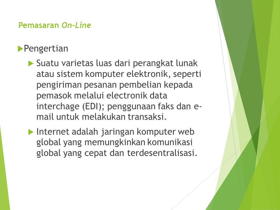 Pemasaran On-Line  Pengertian  Suatu varietas luas dari perangkat lunak atau sistem komputer elektronik, seperti pengiriman pesanan pembelian kepada