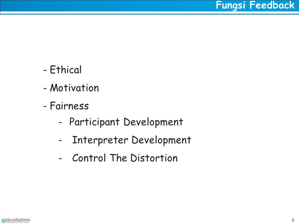 3 Fungsi Feedback - Ethical - Motivation - Fairness -Participant Development - Interpreter Development - Control The Distortion