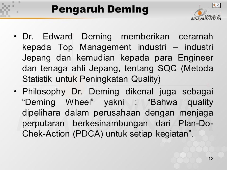 12 Pengaruh Deming Dr. Edward Deming memberikan ceramah kepada Top Management industri – industri Jepang dan kemudian kepada para Engineer dan tenaga
