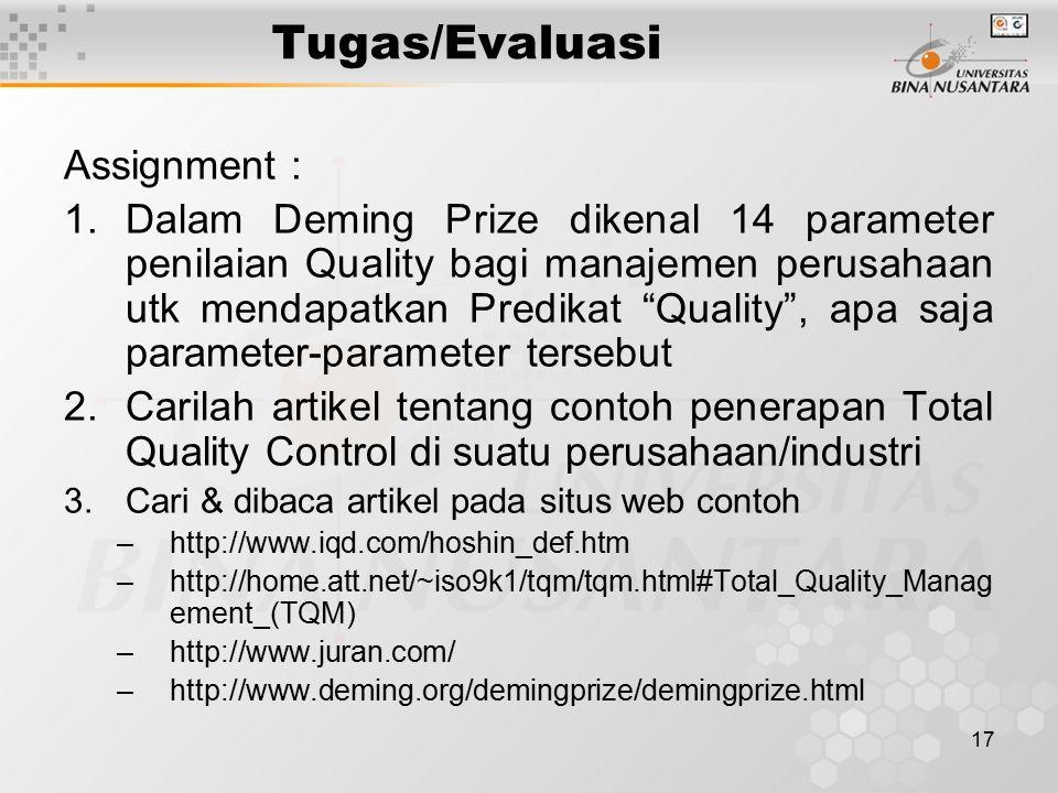 """17 Tugas/Evaluasi Assignment : 1.Dalam Deming Prize dikenal 14 parameter penilaian Quality bagi manajemen perusahaan utk mendapatkan Predikat """"Quality"""