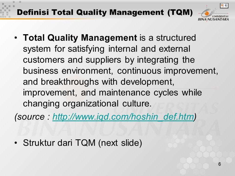 17 Tugas/Evaluasi Assignment : 1.Dalam Deming Prize dikenal 14 parameter penilaian Quality bagi manajemen perusahaan utk mendapatkan Predikat Quality , apa saja parameter-parameter tersebut 2.Carilah artikel tentang contoh penerapan Total Quality Control di suatu perusahaan/industri 3.Cari & dibaca artikel pada situs web contoh –http://www.iqd.com/hoshin_def.htm –http://home.att.net/~iso9k1/tqm/tqm.html#Total_Quality_Manag ement_(TQM) –http://www.juran.com/ –http://www.deming.org/demingprize/demingprize.html