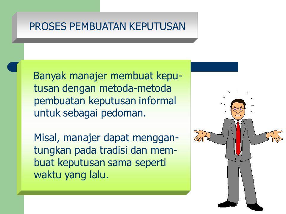 PROSES PEMBUATAN KEPUTUSAN Banyak manajer membuat kepu- tusan dengan metoda-metoda pembuatan keputusan informal untuk sebagai pedoman. Misal, manajer