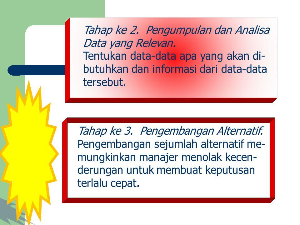Tahap ke 2. Pengumpulan dan Analisa Data yang Relevan. Tentukan data-data apa yang akan di- butuhkan dan informasi dari data-data tersebut. Tahap ke 3