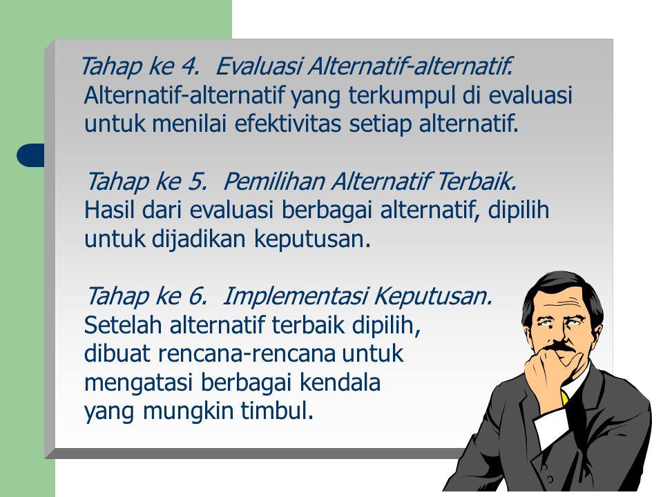 Tahap ke 4. Evaluasi Alternatif-alternatif. Alternatif-alternatif yang terkumpul di evaluasi untuk menilai efektivitas setiap alternatif. Tahap ke 5.