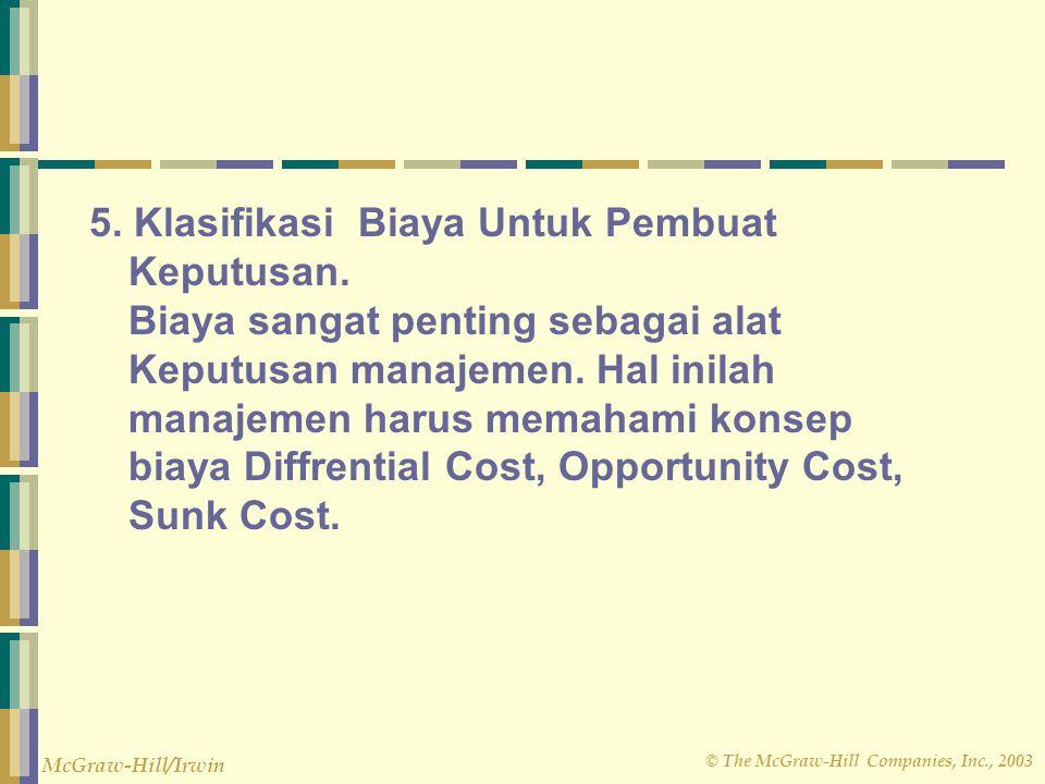 © The McGraw-Hill Companies, Inc., 2003 McGraw-Hill/Irwin 5. Klasifikasi Biaya Untuk Pembuat Keputusan. Biaya sangat penting sebagai alat Keputusan ma