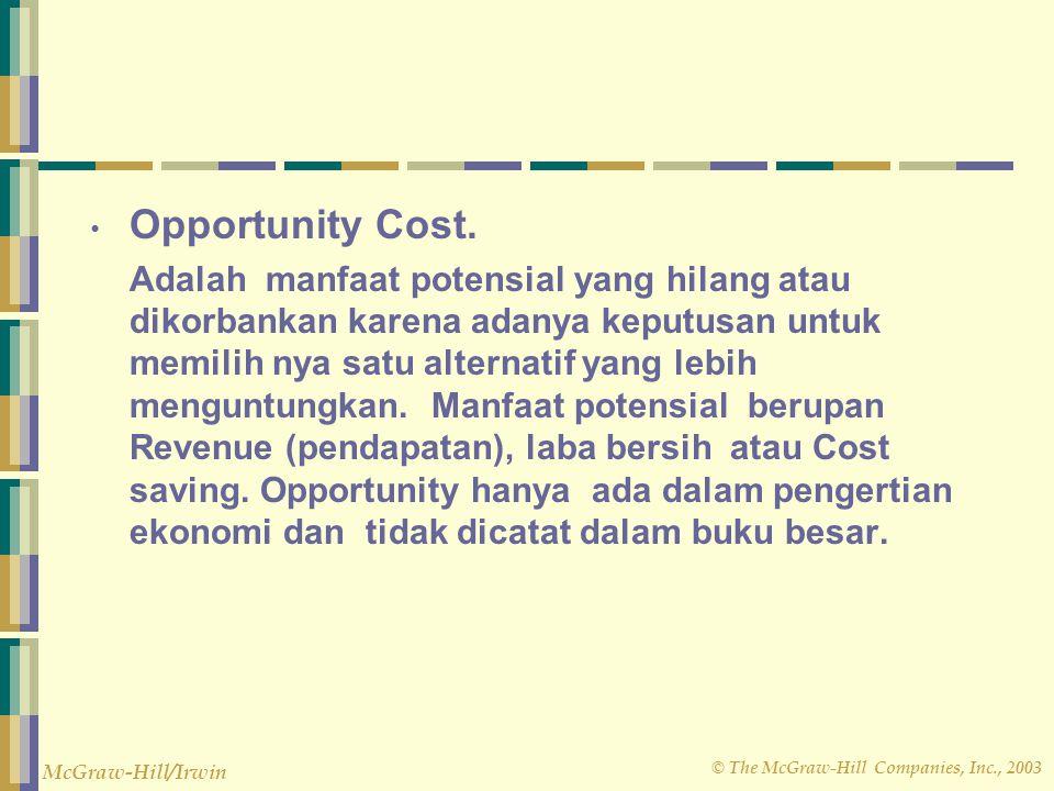 © The McGraw-Hill Companies, Inc., 2003 McGraw-Hill/Irwin Opportunity Cost. Adalah manfaat potensial yang hilang atau dikorbankan karena adanya keputu