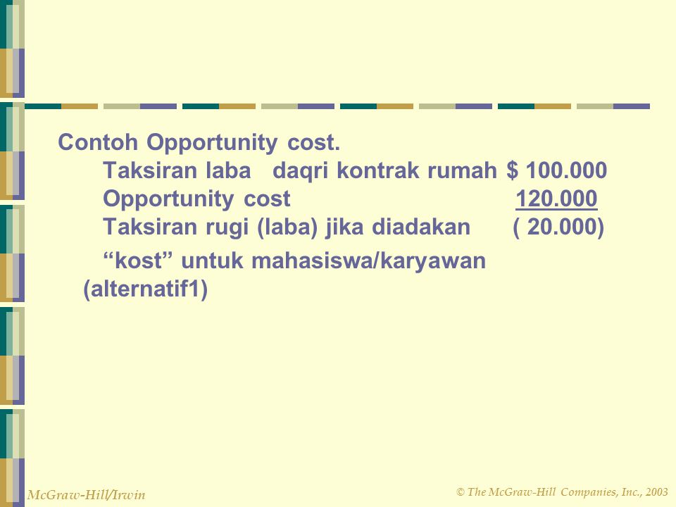 © The McGraw-Hill Companies, Inc., 2003 McGraw-Hill/Irwin Contoh Opportunity cost. Taksiran laba daqri kontrak rumah $ 100.000 Opportunity cost 120.00