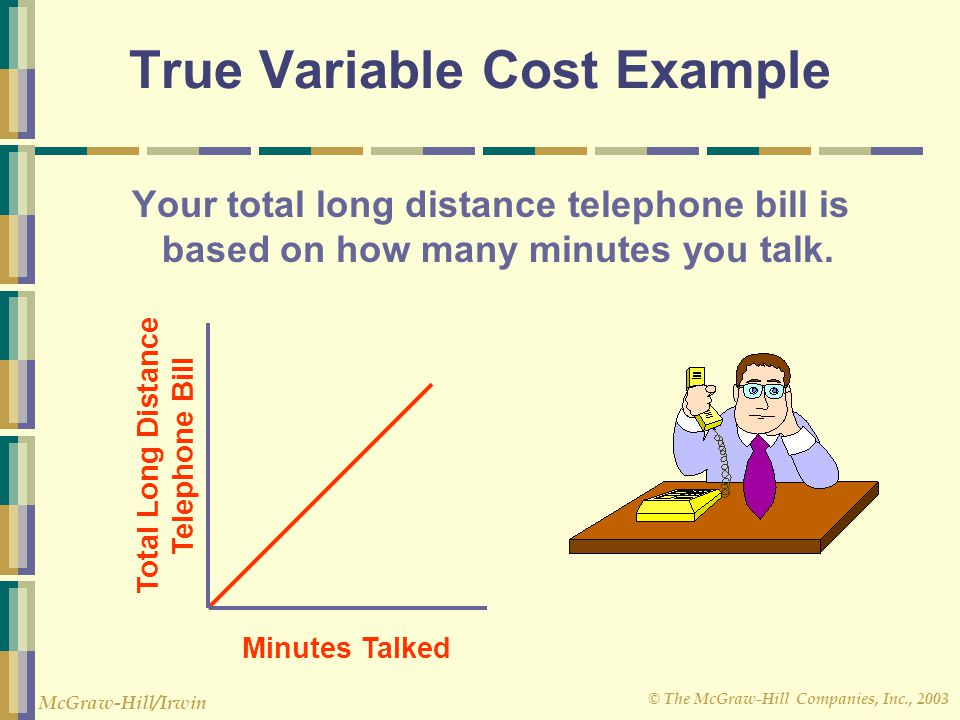 © The McGraw-Hill Companies, Inc., 2003 McGraw-Hill/Irwin Minutes Talked Total Long Distance Telephone Bill True Variable Cost Example Your total long distance telephone bill is based on how many minutes you talk.