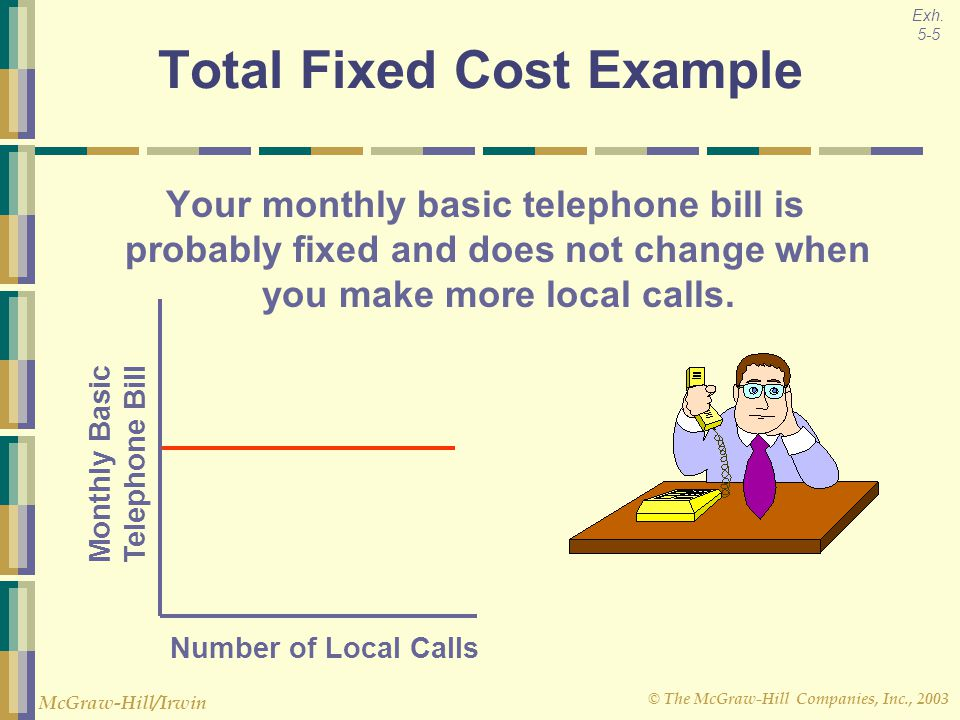 © The McGraw-Hill Companies, Inc., 2003 McGraw-Hill/Irwin Number of Local Calls Monthly Basic Telephone Bill Total Fixed Cost Example Your monthly bas