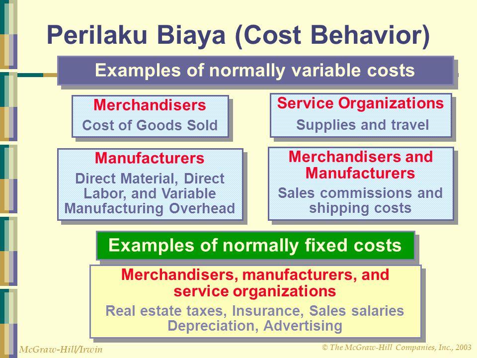 © The McGraw-Hill Companies, Inc., 2003 McGraw-Hill/Irwin Perilaku Biaya (Cost Behavior) Merchandisers Cost of Goods Sold Merchandisers Cost of Goods