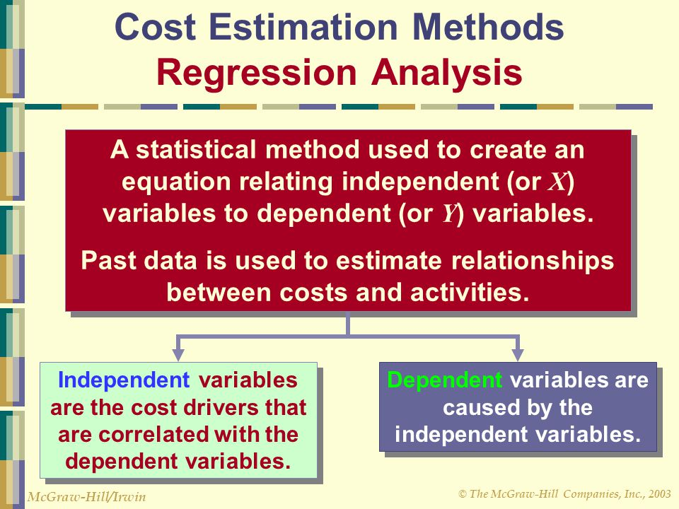© The McGraw-Hill Companies, Inc., 2003 McGraw-Hill/Irwin Cost Estimation Methods Regression Analysis A statistical method used to create an equation relating independent (or X ) variables to dependent (or Y ) variables.