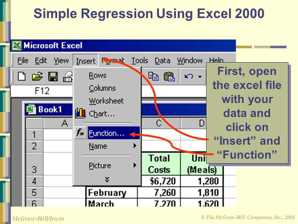© The McGraw-Hill Companies, Inc., 2003 McGraw-Hill/Irwin Simple Regression Using Excel 2000 First, open the excel file with your data and click on Insert and Function