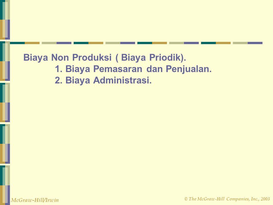 © The McGraw-Hill Companies, Inc., 2003 McGraw-Hill/Irwin Biaya Non Produksi ( Biaya Priodik). 1. Biaya Pemasaran dan Penjualan. 2. Biaya Administrasi