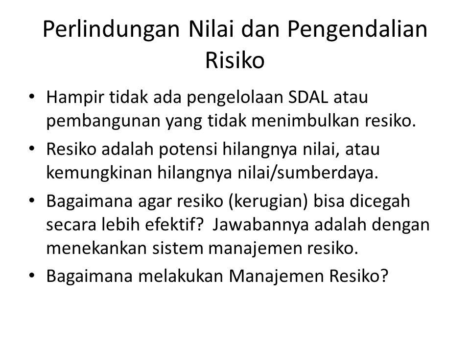Perlindungan Nilai dan Pengendalian Risiko Hampir tidak ada pengelolaan SDAL atau pembangunan yang tidak menimbulkan resiko. Resiko adalah potensi hil