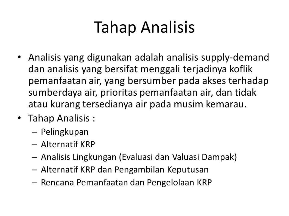 Tahap Analisis Analisis yang digunakan adalah analisis supply-demand dan analisis yang bersifat menggali terjadinya koflik pemanfaatan air, yang bersu