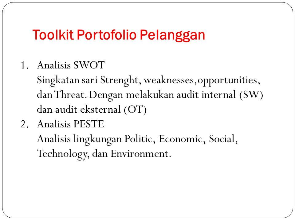 Toolkit Portofolio Pelanggan 1.Analisis SWOT Singkatan sari Strenght, weaknesses,opportunities, dan Threat. Dengan melakukan audit internal (SW) dan a