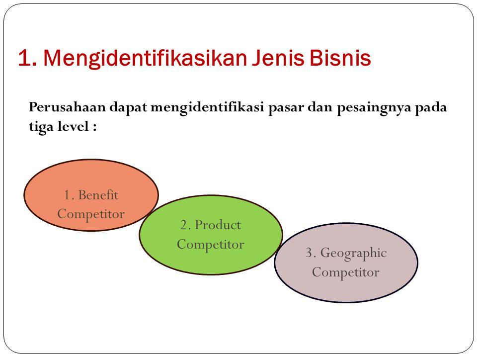 1. Mengidentifikasikan Jenis Bisnis Perusahaan dapat mengidentifikasi pasar dan pesaingnya pada tiga level : 1. Benefit Competitor 2. Product Competit