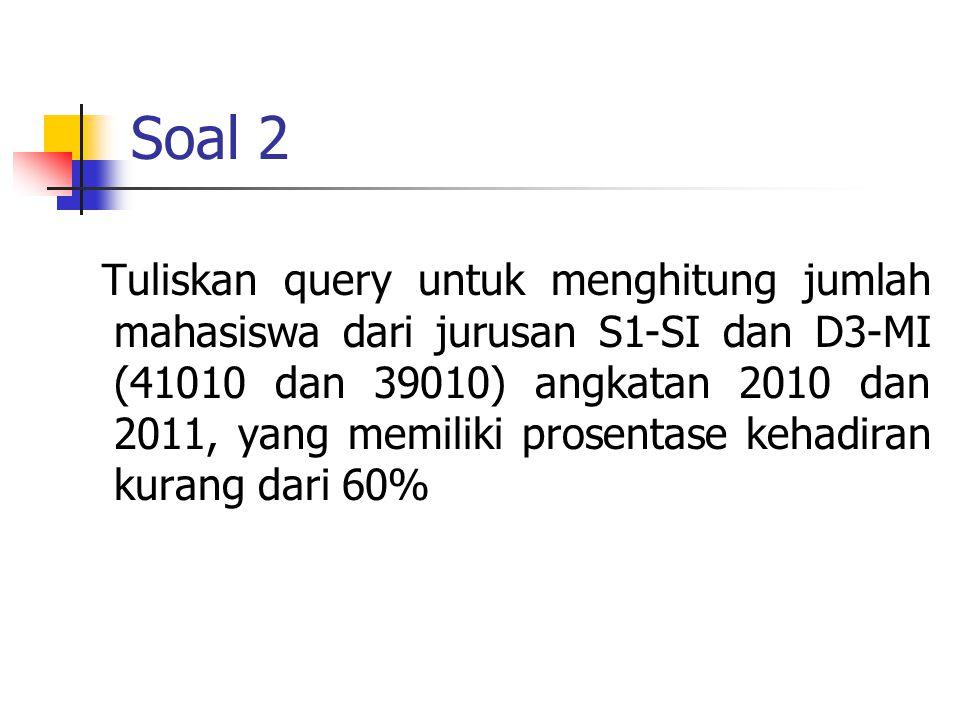Soal 2 Tuliskan query untuk menghitung jumlah mahasiswa dari jurusan S1-SI dan D3-MI (41010 dan 39010) angkatan 2010 dan 2011, yang memiliki prosentase kehadiran kurang dari 60%
