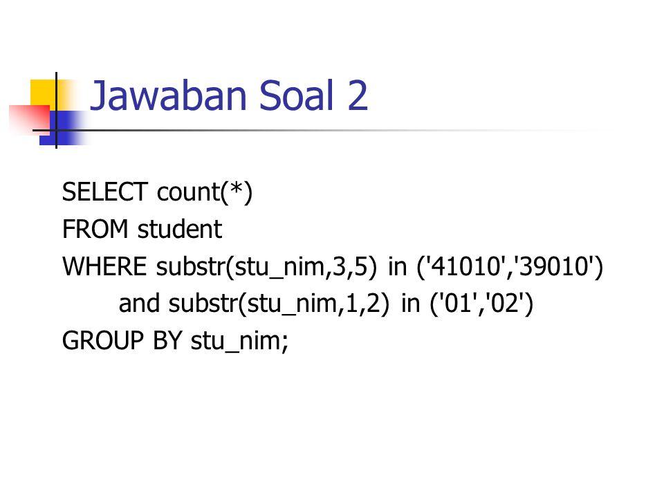 Soal 3 Tuliskan query untuk menampilkan data NIM, NAMA, N_UTS mahasiswa yang mengambil HIS_STUDENT dari angkatan '10' secara UNIQUE, urut berdasarkan Nilai UTS dari yang tertingi.