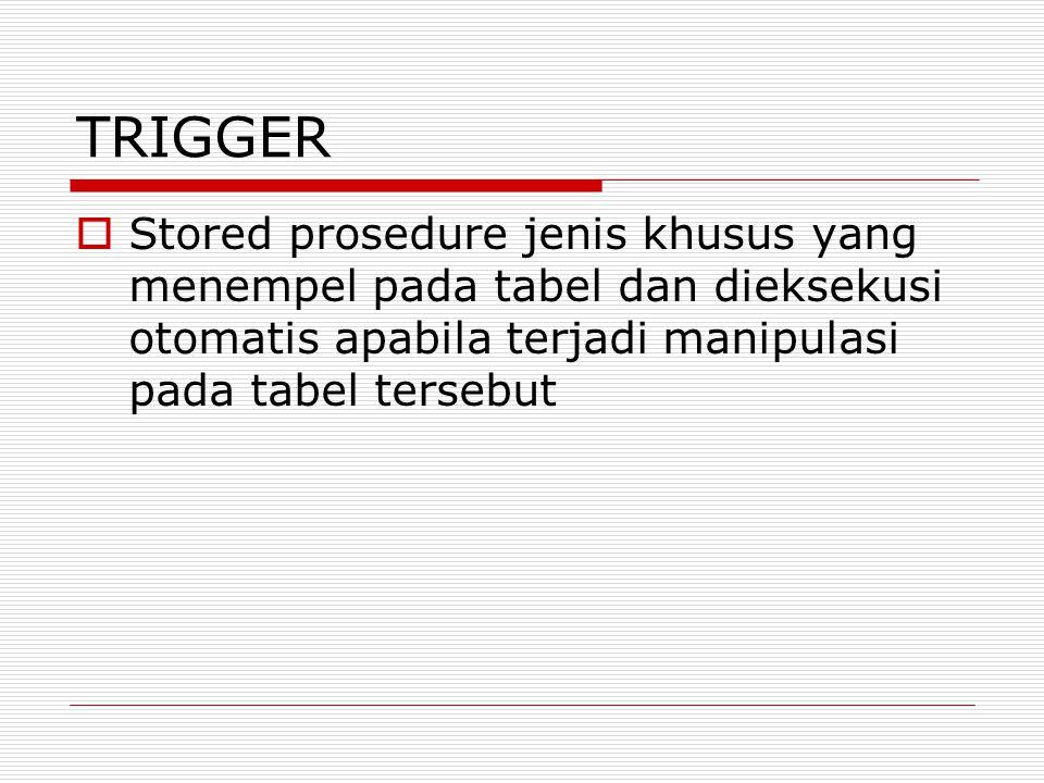 Manipulasi Trigger AFTER/BEFORE  Insert  Update  Delete