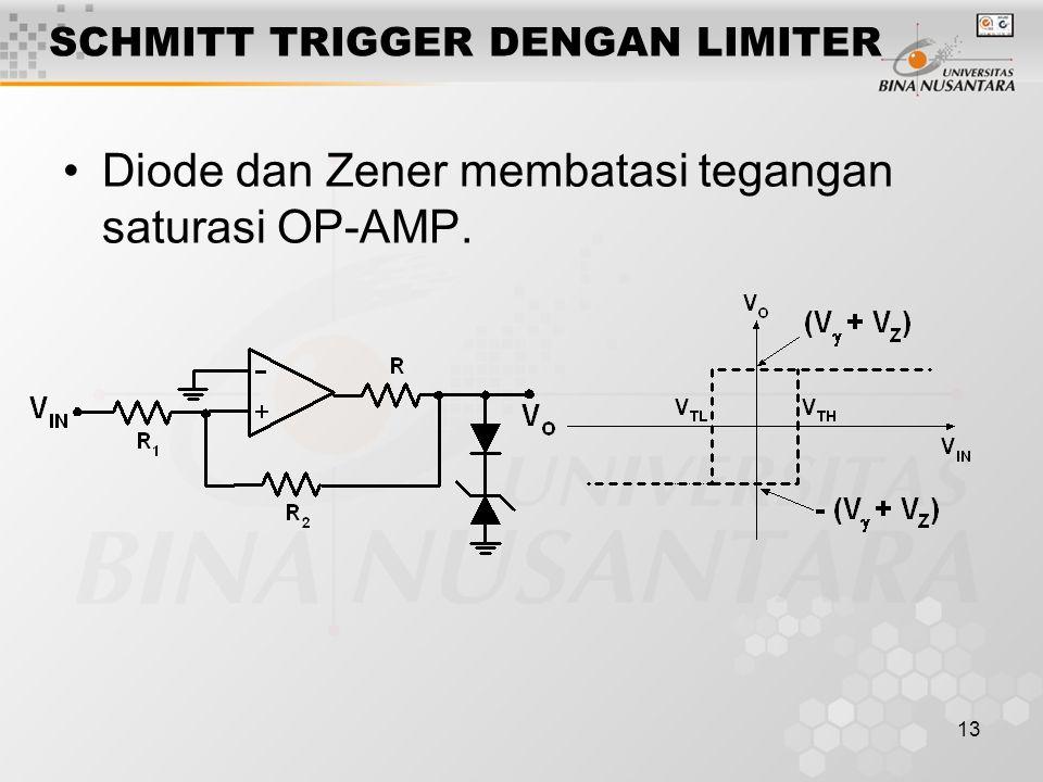 13 SCHMITT TRIGGER DENGAN LIMITER Diode dan Zener membatasi tegangan saturasi OP-AMP.