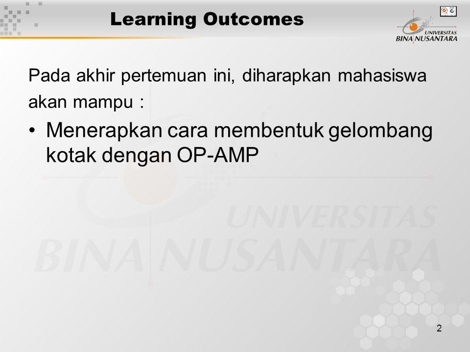 2 Learning Outcomes Pada akhir pertemuan ini, diharapkan mahasiswa akan mampu : Menerapkan cara membentuk gelombang kotak dengan OP-AMP