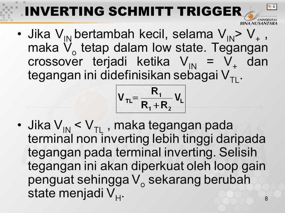 8 INVERTING SCHMITT TRIGGER Jika V IN bertambah kecil, selama V IN > V +, maka V o tetap dalam low state. Tegangan crossover terjadi ketika V IN = V +