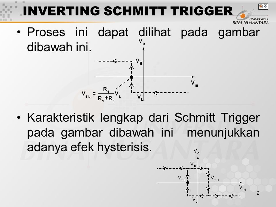 9 INVERTING SCHMITT TRIGGER Proses ini dapat dilihat pada gambar dibawah ini. Karakteristik lengkap dari Schmitt Trigger pada gambar dibawah ini menun